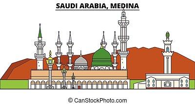 Saudi Arabia, Medina. City skyline, architecture, buildings,...