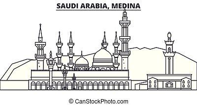 Saudi Arabia, Medina line skyline vector illustration. Saudi...