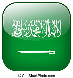 Saudi Arabia national flag square button isolated on white background