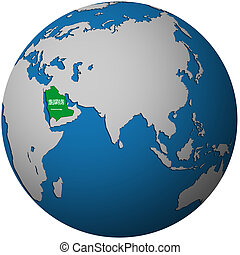 saudi arabia on globe map
