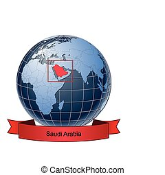 Saudi Arabia, position on the globe Vector version with separate layers for globe, grid, land, borders, state, frame; fully editable
