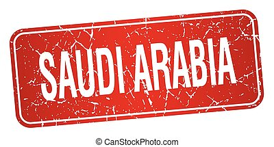 Saudi Arabia red stamp isolated on white background