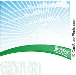 Saudi Arabia ribbon flag on sky background