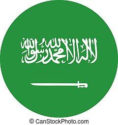 Saudi arabia round glossy icon vector, Saudi Arabian national flag.