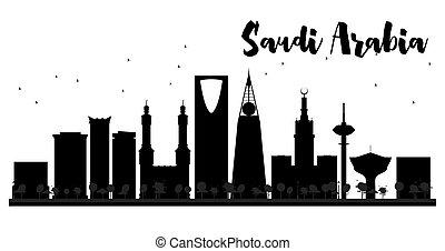 Saudi Arabia skyline black and white silhouette.