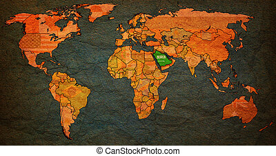 saudi arabia territory on world map - saudi arabia flag on...