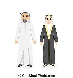 Saudi Arabia traditional clothes people. Arab traditional muslim, arabic clothing, east arabian dress, ethnicity islamic face with beard, person human guy illustration