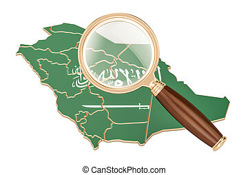 Saudi Arabia under magnifying glass, analysis concept, 3D rendering