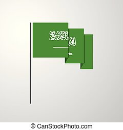 Saudi Arabia waving Flag creative background