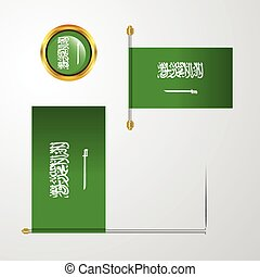 Saudi Arabia waving Flag design with badge vector