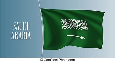 Saudi Arabia waving flag vector illustration. Iconic design element