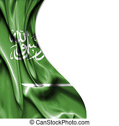 Saudi Arabia waving satin flag isolated on white background