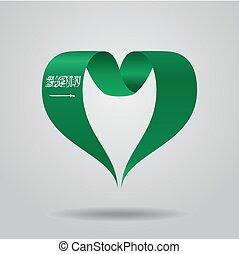 Saudi Arabian flag heart-shaped ribbon. Vector illustration....