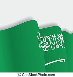 Saudi Arabian waving Flag. Vector illustration.