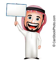 saudita, arabo, uomo, cartone animato, carattere