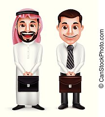 saudita, arabo, vettore, presa a terra, uomo, caratteri, uomo affari, cartella