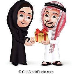 saudita, homem, árabe, desgastar, thobe
