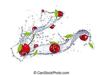 sauerkirschen, in, wasser, spritzen, freigestellt, weiß, hintergrund