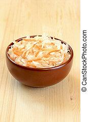 Sauerkraut in ceramic bowl
