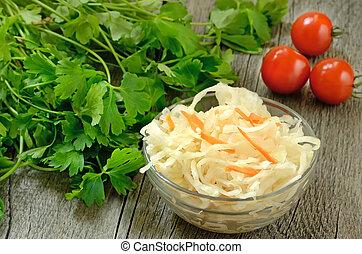 Sauerkraut in glass bowl