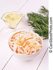 Sauerkraut in white bowl