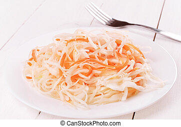 Sauerkraut on white plate