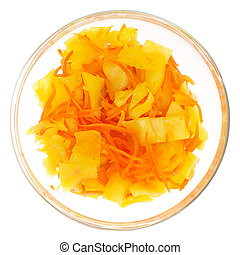 Sauerkraut with Korean carrots in glass bowl isolated on white background