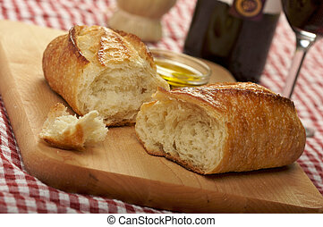 sauerteig, bread, auf, schneidebrett