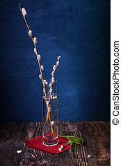 saule, bois, vie, table, fleurir, encore