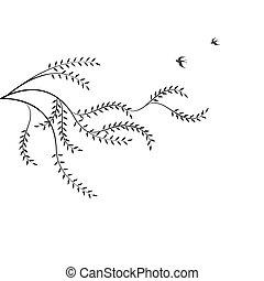 saule, branche, oiseaux