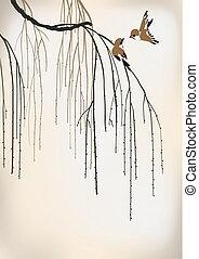 saule, deux oiseaux