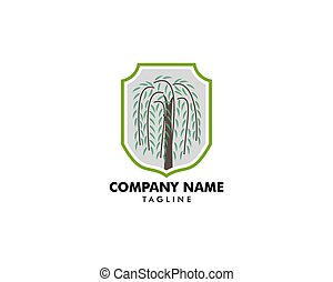 saule, logo, symbole, arbre, vecteur