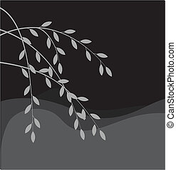 saule, silhouette, branche