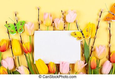 saule, tulipes, jaune, arrière-plan., branche, chat, fleurs, composition