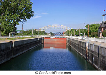 Sault Ste. Marie Canal, Ontario, Canada.