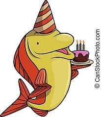 saumon, fish, fête, anniversaire, utilisation