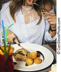 saumon, fromage, cuit, filet, pommes terre