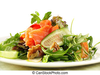 saumon fumé, salade