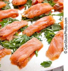 saumon fumé, sur, les, buffet