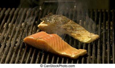 saumon, gril, smoke., filets