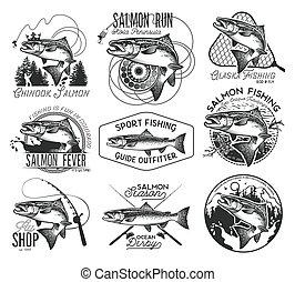saumon, peche, vendange, emblèmes