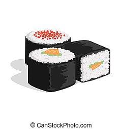 saumon, rouleau, japonais nourriture, illustration., sushi, ...