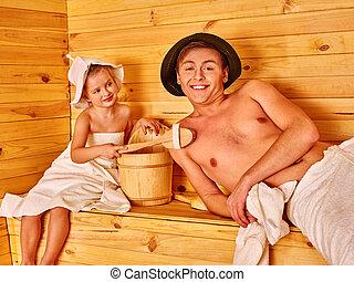 sauna., 弛緩, 家族, 子供