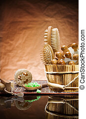 sauna accessories on vintage background