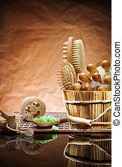 sauna accessories on vintage background