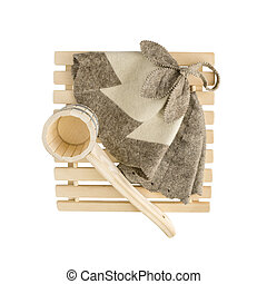 Sauna accessories on white