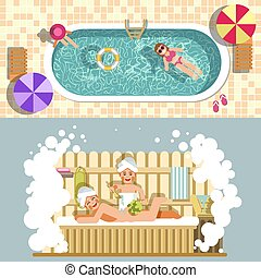 Sauna and swimming pool vector flat spa relax or summer...