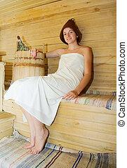 sauna, assento mulher
