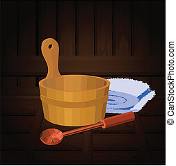 vector illustration of sauna's attributes, a towel, a bucket and a ladle with wooden texture backward
