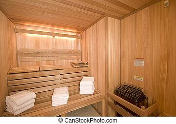 custom built sauna in mansion woodwork detail